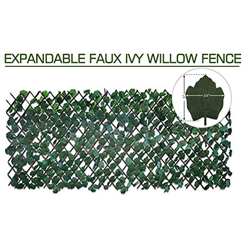 (Artificial Leaf Faux Ivy Expandable/Stretchable Privacy Fence Screen (Single Sided Leaves))