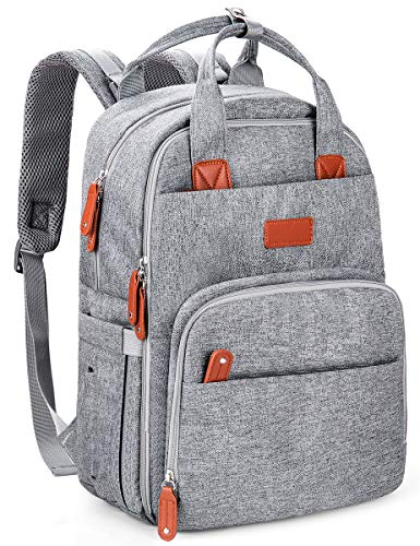 Diaper Bag Backpack, HOKEKI Multifunction Travel Fashion Backpack Maternity Baby Nappy Changing Bags, An Extra Waterproof Changing Pad, Large Capacity, Gray