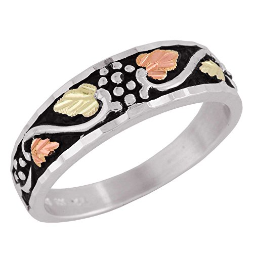 Diamond-Cut Leaves Antiquing Ring, Sterling Silver, 12k Green and Rose Gold Black Hills Gold Motif, Size 7 by Black Hills Gold Jewelry