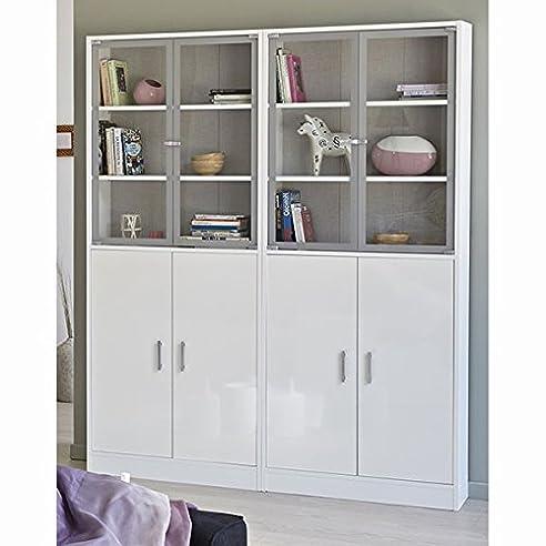 Regalsystem holz mit türen  Vitrine Regal mit Türen B 158 cm Holz Kinder Büro Wohn ...