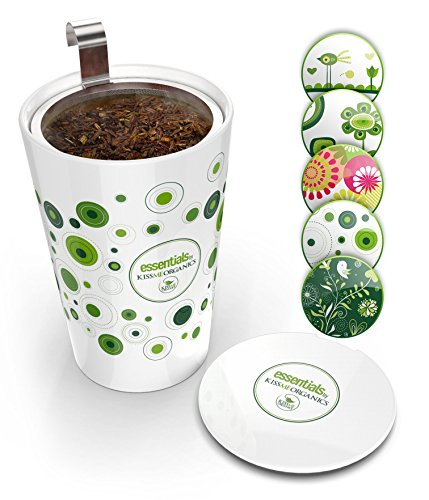 Coffee Pot Ceramic Lid (Steep & Strain Ceramic Tea Mug - Insulated Cup with Tea Infuser - Gift Travel Coffee Mug - Available in 5 Patterns - Comes with Free Silicone Lid)