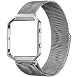 UMTELE FBMilanese Loop3 Fitbit Blaze Accessories Band - Large - Silver