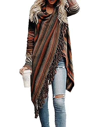 GOLDSTITCH Women's Open Front Knited Tassels Slash Loose Cardigan Crew Neck Speckled Fringe Sweater Outwear Color Striped S,Tag S=US 2-4,Color Striped,Tag S=US 2-4,Color Striped