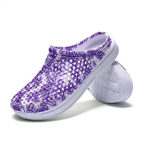 Drying Women's Sandals Purple lewhosy 2 Lightweight Garden Shoes Quick Slippers Clogs Breathable 0d4fHRwq