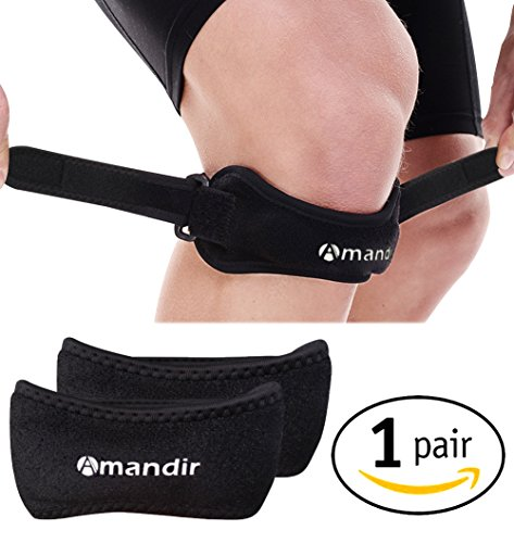 Pack of 2 Knee Brace Support Pain Relief & Patella Stabilizer Best Strap Support for Hiking, Soccer, Basketball, Running, Jumpers, Black by Amandir