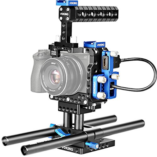 Voking VK-A6500B DSLR Video Camera Kit for Sony Alpha A6500 A6300 A6000 with Camera Cage, Handle, Rods, Rail Support System, HDMI Clamp