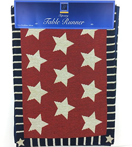 Patriotic Tapestry Table Runner Americana Star and Stripes 1