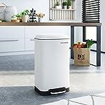 SONGMICS-Cubo-de-basura-Cubo-de-reciclaje-de-30L-Cubo-de-pedal-de-acero-con-cubo-interior-y-tapa-Cierre-suave-Hermetico-para-cocina-sala-de-estar-Blanco-LTB01W