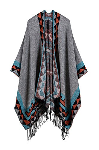 Blanket Coat (Hiwil Womens Knitted Cashmere Reversible Wrap Shawls Blanket Ponchos Cardigans Capes Coat Sweater)