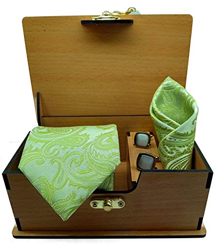 Ollera Men's Polyester Necktie Set with Pocket Square and Cufflinks in Elegant Wooden Box(Green, Free Size)