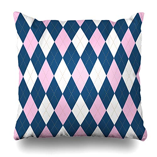Ahawoso Throw Pillow Cover Square 20x20 Inches Border Blue Argyle Plaid Pattern Palette Pink Jersey Golf Brown Baby Check Checkered Chequer Cushion Case Home Decor Pillowcase ()