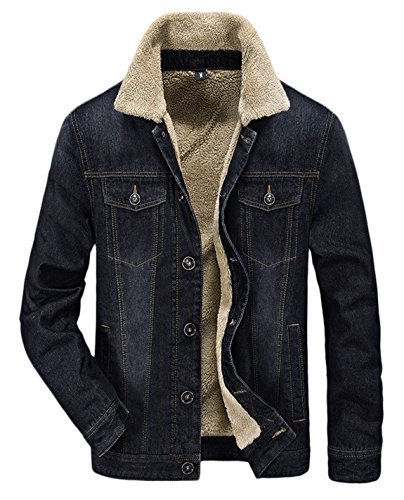Button Cuff Denim Coat (HOWON Men's Plus Cotton Warm Fur Collar Sherpa Lined Denim Jacket Button Down Classy Casual Quilted Jeans Coats Outwear Black M)
