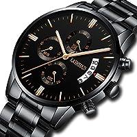 Men's Watches Sports Luxury Chronograph Waterproof Military Quartz Wristwatches For Men Rose Gold Hands Black Dress Watch