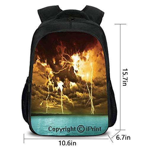 Children's Campus Backpack,Flash Storm Over The Lake with Large Rain Clouds Miracle Solar Illumination Photo,School Bag :Suitable for Men and Women,School,Travel,Daily use,etc.Blue Yellow ()