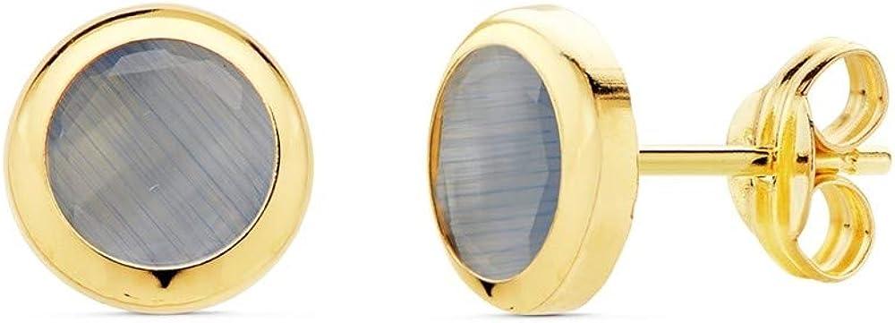 Pendientes Oro 18K Mujer 6.5mm. Chatón Redondo Piedra Azul Cierre Presión