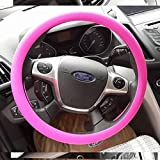 Image of OHF Steering Wheel Cover Auto Car Silicone Great Grip Anti-slip Steering Cover for Diameter 36-38cm/14-15inch(Rose Red)