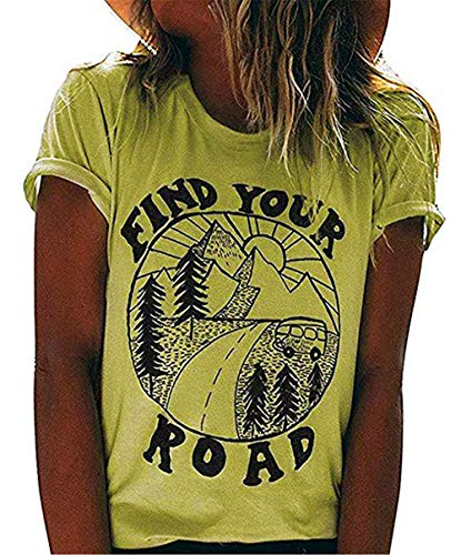 NENDFY Women's Find Your Road Funny T Shirt Letters Graphic Casual Short Sleeve Tops Tees Blouses (X-Large, Light Yellow)