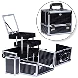Joligrace Makeup Train Case Professional Cosmetic Box Travel Organizer with Mirror & Lock