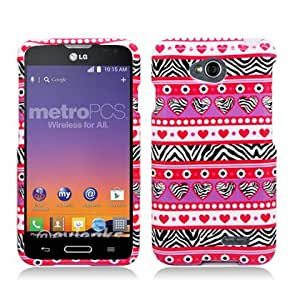 Aimo Wireless For LG Optimus L70 (MetroPcs/Cricket) / Optimus Exceed 2 W7 (Verizon) / LS620 Realm (Boost Mobile) / L41C Ultimate 2 (Straight Talk) Image, Zebra Hearts Pink