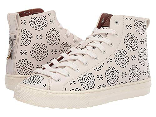 Coach Women's C216 High Top with Cut Out Tea Rose - Leather Chalk 7.5 B US (High Coach Tops)