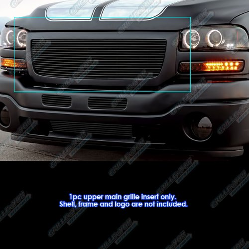 APS Compatible with 2003-2007 GMC Sierra 1500 2500HD 3500 Black Billet Grille S18-H17358G