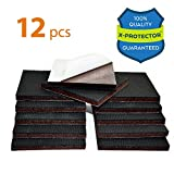 """Best Chair Pads for Hardwood Floors NON SLIP FURNITURE PADS X-PROTECTOR – PREMIUM 12 pcs 3"""" Furniture Pad! Best Furniture Grippers - SelfAdhesive Rubber Feet - Furniture Floor Protectors for Keep in Place Furniture & Furniture Stoppers"""