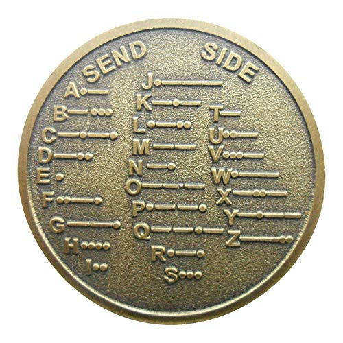 SODIAL Cw Morse Code Decoder Chart Medal Commemorative Metal Coin Gift Bronze