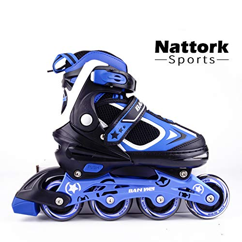 Nattork Adjustable Inline Skates for Kids and Adults with Light Up Wheels,Beginner Skates Fun Illuminating Roller Blades for Girls and Boys, Youth and Women Size 5-8