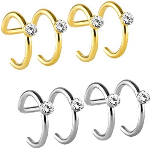 JewelrieShop Assorted Stainless Steel Various Helix Fake Cartilage Clip on Ear Cuff Wrap Hoops Earrings