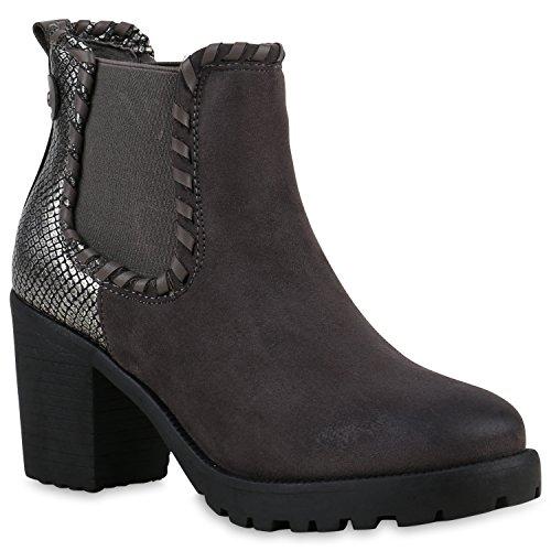 81ea06a0229c2d Trendige Damen Booties Chelsea Boots Profilsohle Stiefeletten High Heels  Leder-Optik Schuhe Blockabsatz Animal Prints