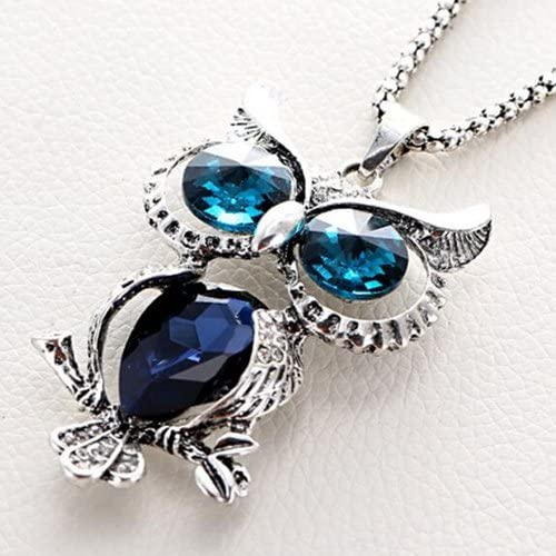 Modogirl Vintage Retro Owl Pendant Long Chain Necklace Crystal Opal with Antique Silver for Men Black Eyes