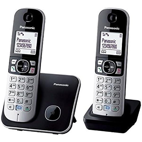Panasonic KX-TG6812FRB - Teléfono (DECT, Terminal inalámbrico, Altavoz, 100 entradas, Identificador de Llamadas) Color Negro, Plata [Versión Importada]: Amazon.es: Electrónica