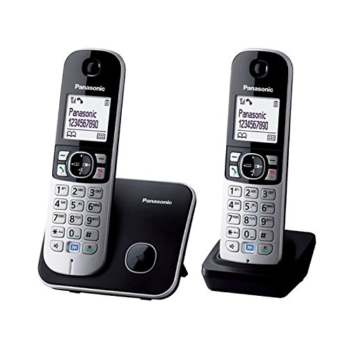 Panasonic KX-TG6812FRB - Teléfono (DECT, Terminal inalámbrico, Altavoz, 100 entradas, Identificador de Llamadas) Color Negro, Plata [Versión ...