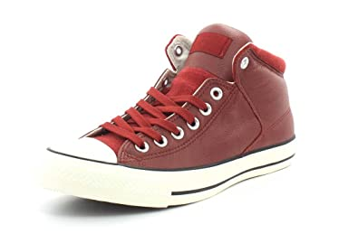 28db53c6a15c Converse Mens Chuck Taylor All Star Street Hi - Tumbled Leather Terra Red Terra  Red