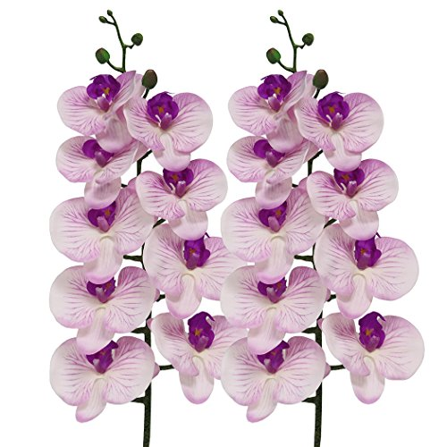 JAROWN 2pcs 9 Heads Artificial Phalaenopsis Orchid 37.8