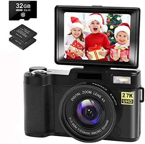 Digital Camera Vlogging Camera with YouTube 30MP Full HD 2.7K Vlog Camera with Flip Screen 180° Rotation with 32GB Memory Card and a pair of Batteries