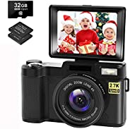 Digital Camera Vlogging Camera with YouTube 30MP Full HD 2.7K Vlog Camera with Flip Screen 180° Rotation with