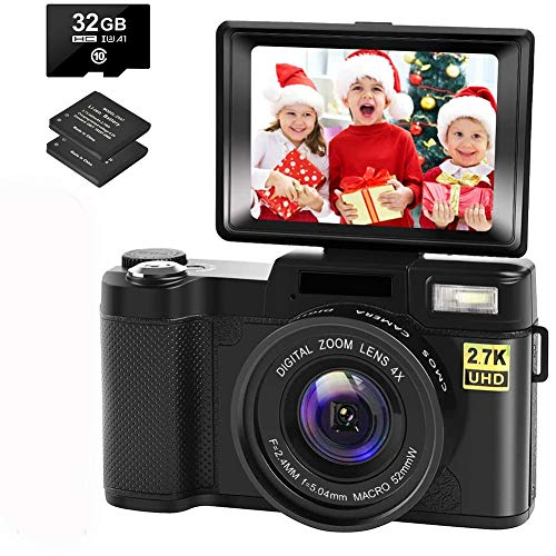 Digital Camera Vlogging Camera with YouTube 30MP Full HD 2.7K Vlog Camera with Flip Screen 180° Rotation with 32GB…
