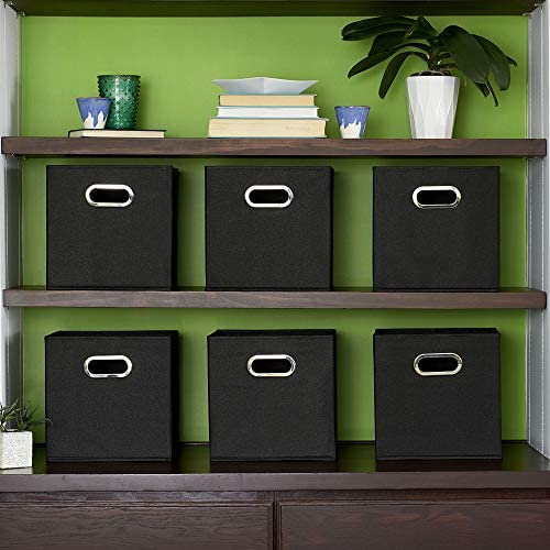 Household Essentials 80-1 Foldable Fabric Storage Bins | Set of 6 Cubby Cubes with Handles | Black, 6 lbs