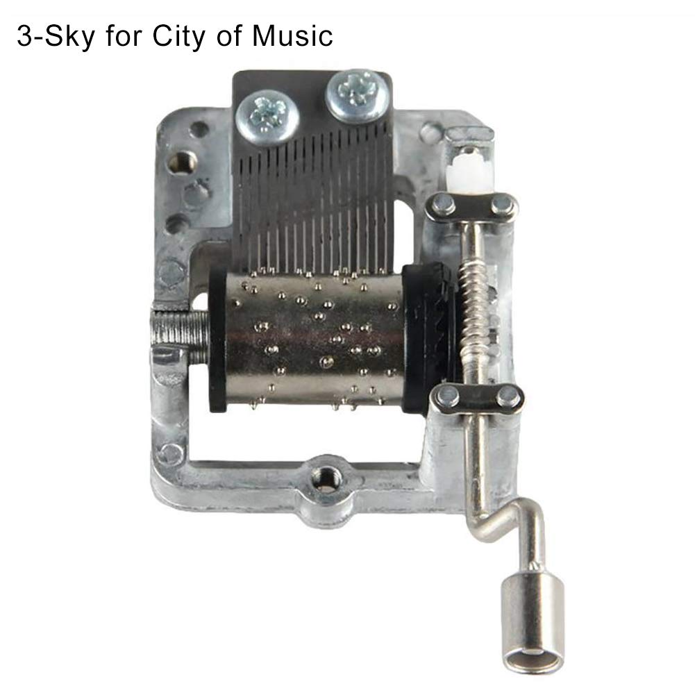 Connoworld Mechanism Hand Crank Music Box Movement for Harry Potter Sky City Beauty Beast - 3#