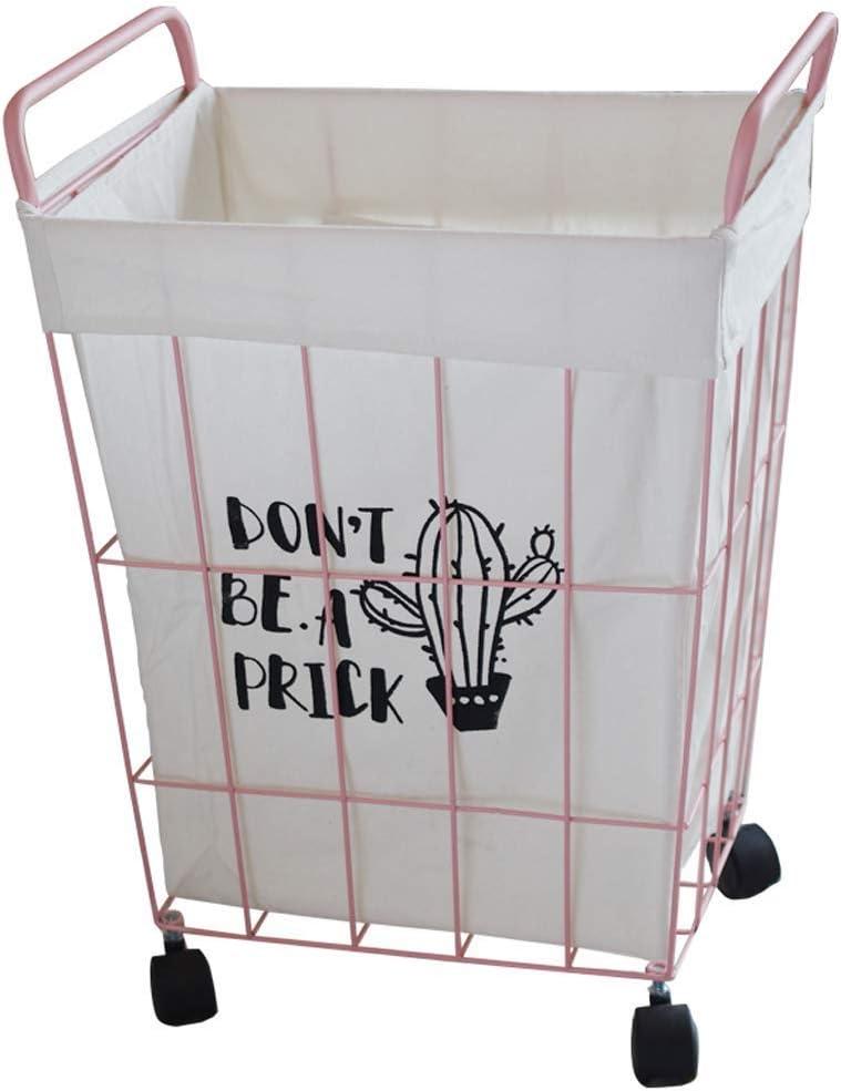 RMXMY Ropa Sucia nórdica cesto de almacenaje cesto de Hierro Forjado cesto para la Ropa de baño con Ruedas cesto de Almacenamiento