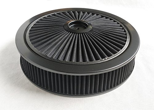 A-Team Performance High Flow Replacement Air Cleaner Assembly w/Flow-Thru Lid, Washable and Reusable Round Air Filter Element Kit Includes Star Wing nut Compatible w/Chevrolet GMC Ford 14