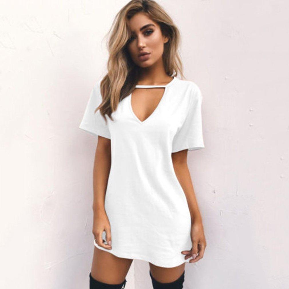 LnLyin Damen Reine Farbe V Ausschnitt Hohlen Lose Kurz/ärmelige T Shirt Kleid Wei/ß S