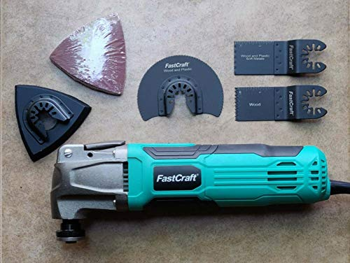FastCraft Oscillating Multi Tool with Speed Dial, ToolLess Lock,FREE Saw Blades and Tote Bag Included [Bulk Packaging]