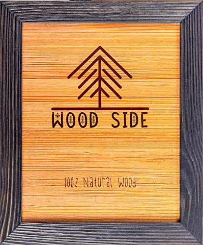 - Rustic Wooden Picture Frame 11x14-100% Natural Solid Eco Distressed Wood for Wall Mounting Photo Frame - Dark Grey
