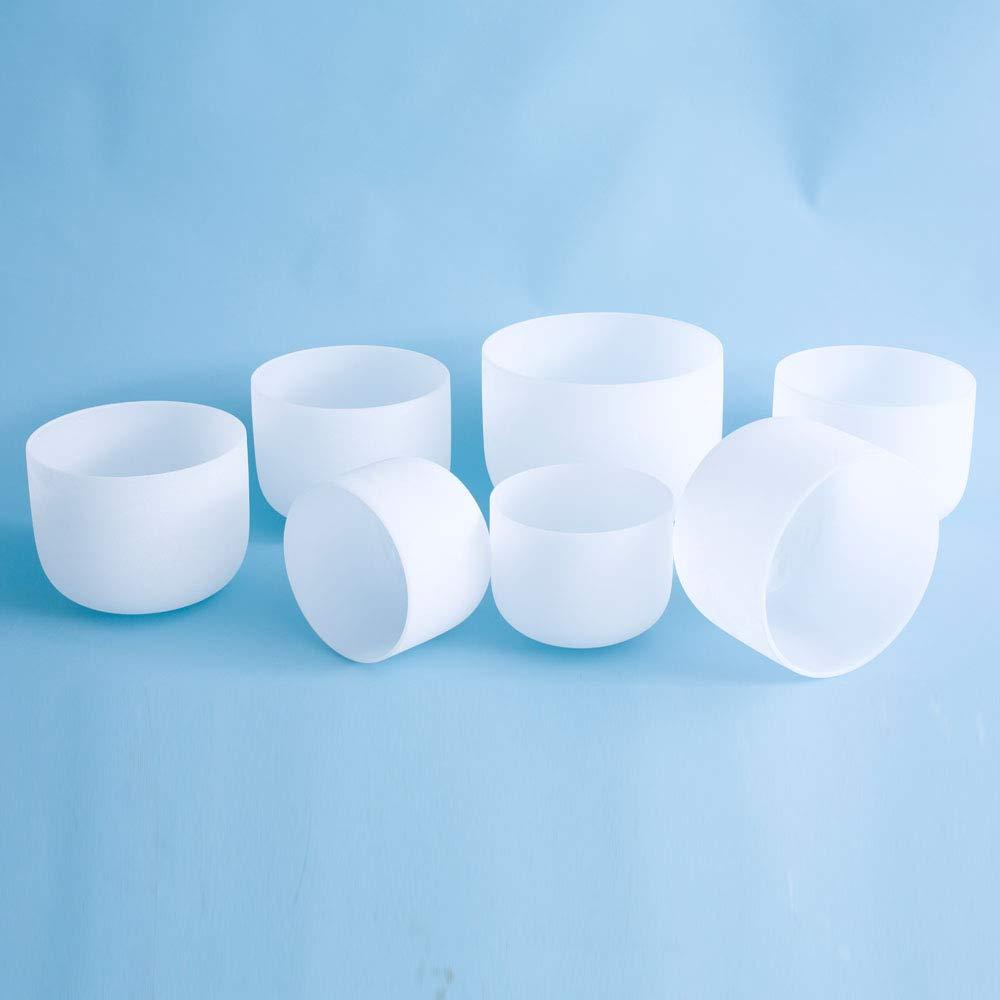7''-12'' 432Hz Chakra Tuned Set of 7 Frosted Quartz Crystal Singing Bowl by SOUNDENERGY (Image #2)
