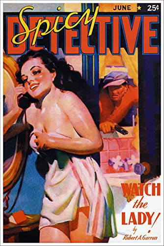 Spicy Detective Stories Watch The Lady Vintage Pulp Magazine Cover Retro Art Poster - 11x17