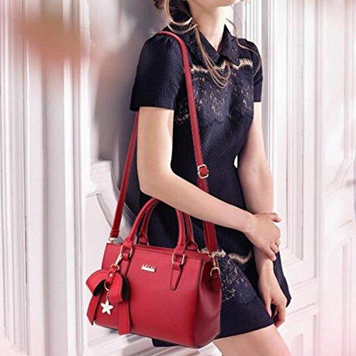 à PU Femme Sacs Mode Simple Filles Pour main vin main Rouge a Sac Violet d'épaule Cuir Sac en L005 SqxfYFW