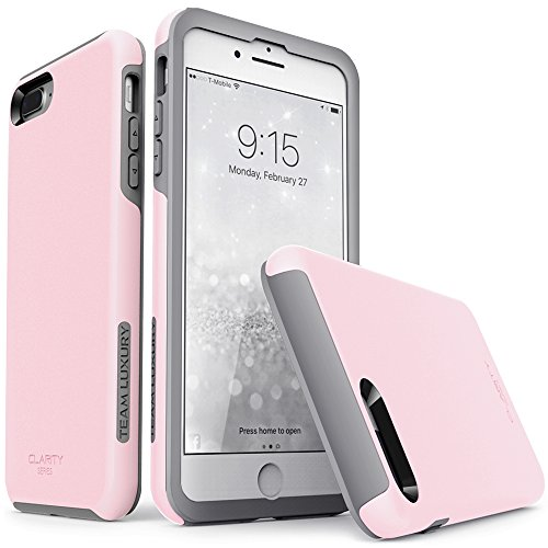 iPhone 7 Plus case, iPhone 8 Plus case, TEAM LUXURY [Clarity Series] Pink Ultra Defender TPU + PC Shock Absorbent Premium Protective Case - for Apple iPhone 7 Plus & 8 Plus (Rose Quartz/ Gray) - Tpu Diamond Pattern