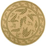 Safavieh Courtyard Collection CY0772-1E01 Natural and Olive Indoor/ Outdoor Round Area Rug (5'3″ Diameter)